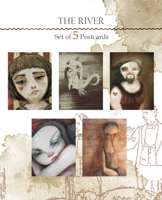 Set of 5 original Postcards - The river -