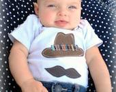 SPY short sleeved Onesie/Shirt....hat with mustache