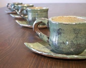 Espresso Cups with Leaf Coasters in Mottled Green