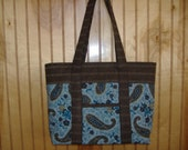 Blue, turquoise and brown paisley quilted with 2 tone brown striped trim
