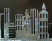 Dark City - graffiti cityscape painting on wood