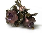 Flower Earrings, Vintage Style Earrings, Vintage Style Jewelry, Purple, Antiqued Brass, Swarovski, Czech Glass, Iridescent