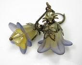 Flower Earrings, Yellow, Blue, English Blueberry, Swarovski