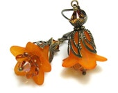 Tangerine, Orange, Flower Earrings, Vintage Style, Swarovski
