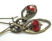 Antiqued Brass Steampunk Earrings, Red Orange, Czech Glass, Extra Long Earrings, Dangle Earrings, Industrial Chic, For Her, Poppy Red