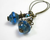 Sapphire Blue Vintage Style Earrings, Firepolished Czech Glass, Dangle Earrings, Womens Accessories, Gifts for Her, Monaco Blue