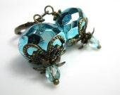 Aqua Ice Vintage Style Czech Glass Dangle Earrings, Sparkling Earrings, Metallic, Teal, Antiqued Brass Jewelry, Women's Accessories, Bling