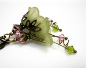 Pink and Green Dangle Earrings, Lucite Flowers, Swarovski Crystal Jewelry, Antique Brass Earrings, Vintage Style Jewelry