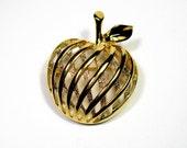 Vintage Brooch, 1950's, Filigree, Apple, Teacher Gift