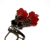 Red, Wine, Siam, Swarovski, Lucite, Flower Earrings