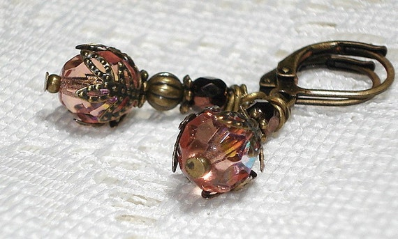 Victorian Style Antiqued Brass Earrings