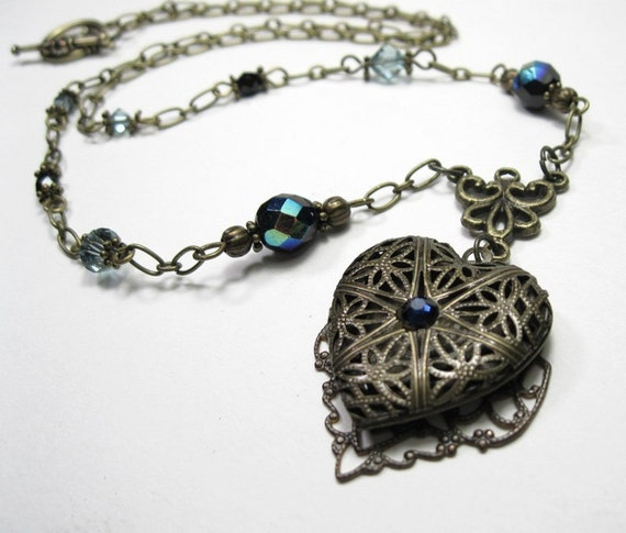 Vintage Style Sapphire and Brass Locket Necklace