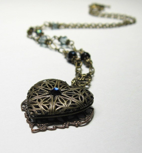 Jewelry, Necklace, Vintage Style Necklace, Locket Necklace, Sapphire Blue, Vintaj Brass, Swarovski, Czech Glass