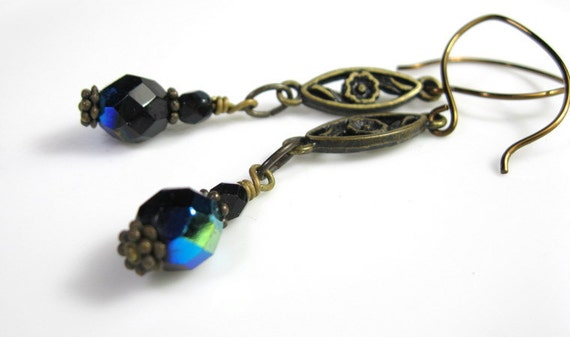 Extra Long, Sapphire Blue Victorian Style Dangle Earrings, Extra Long Earrings, AB Czech Glass, Gifts For Her, Antiqued Bronze, Under 20