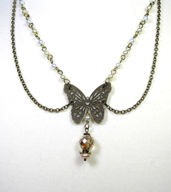 Victorian Style, Pearl, Czech Glass, Antiqued Brass, Necklace
