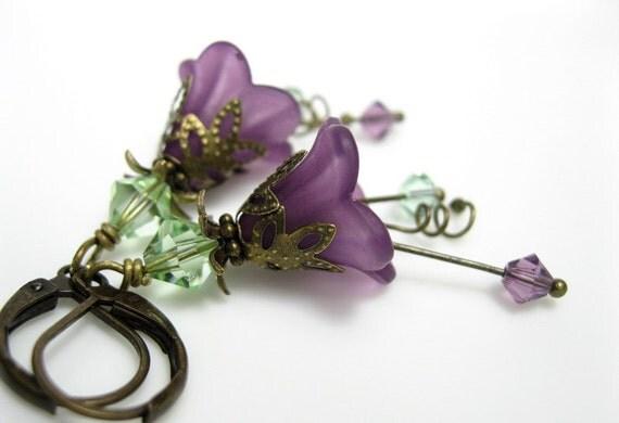 Chrysolite, Lilac, Lucite, Swarovski Flower Earrings