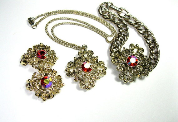 Vintage Rhinestone Jewelry Set, Filigree, 1950s