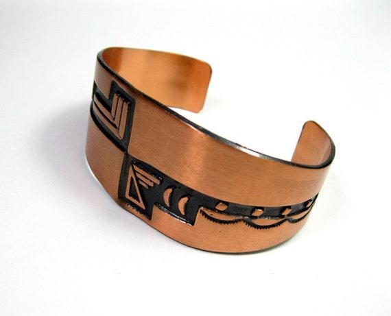 Vintage, 1970s, Native American, Southwestern, Copper, Cuff, Bracelet