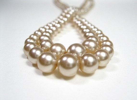 Double Strand, 1940's, Pearl Necklace, Wedding Jewelry