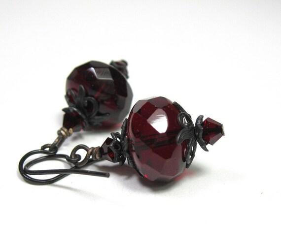 Black Cherry Czech Glass, Vintage Style Earrings, Oxblood