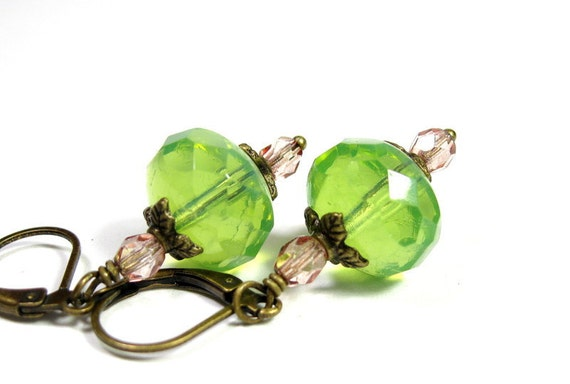 Czech Glass, Vintage Style, Dangle Earrings, Light Green, Pink, Victorian Style, Antiqued Brass, Chartreuse, For Her, Womens Accessories