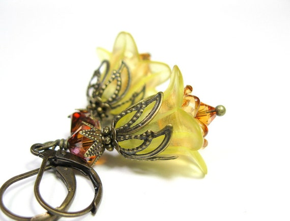 Sunflower, Yellow, Vintage Style, Flower, Earrings