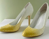 Ombre Burlesque Heels Yellow White Swarovski Crystals