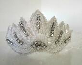 Beaded Bridal Veil Reversible Headband Rhinestone Vintage Millinery Netting