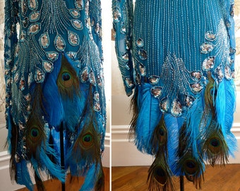 Burlesque Costume Silk Tunic Peacock Ostrich Feather Sequin Beads CLEARANCE