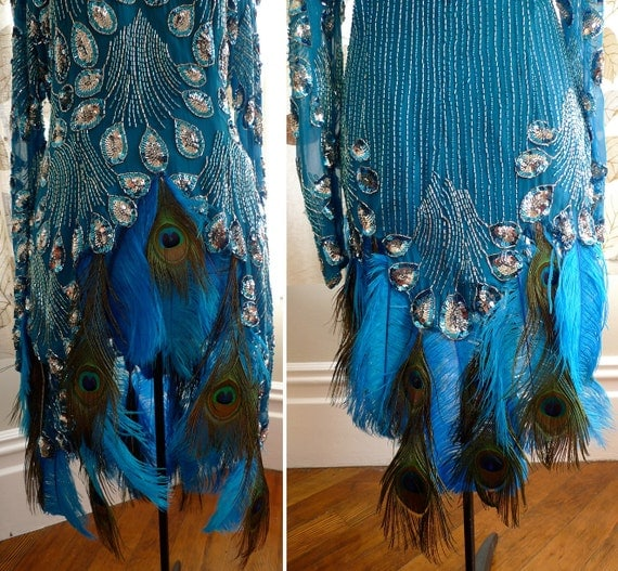 Burlesque Costume Silk Tunic Peacock Ostrich Feather Sequin Beads