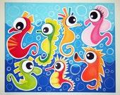 sEA hORSE pARADE - 16x20 original painting, Fish wall art, fish nursery dcor, fish painting