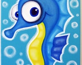 sEAhORSE - 12x16 acrylic painting on canvas for childs room or nursery, seahorse art
