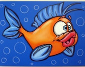 BoY FiSH - 18x24 original painting on canvas for childs room or nursery, FREE SHIPPING, fish painting,girl fish