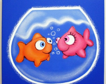 2 sMALL FiSH iN LuV - 12 x 12 original painting, fish wall art, fish room decor, I love you, fish theme decor for nursery or kids room