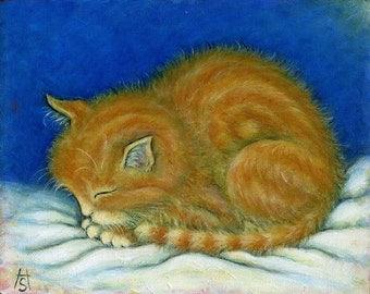 Tabby cat art print. Ginger Tabby Kitten