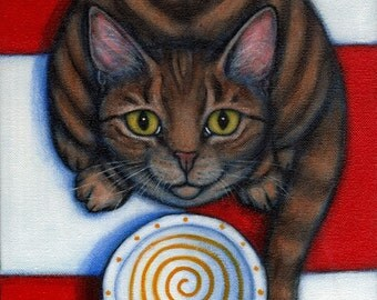 Hungry Brown Tabby.  8 x 10 print