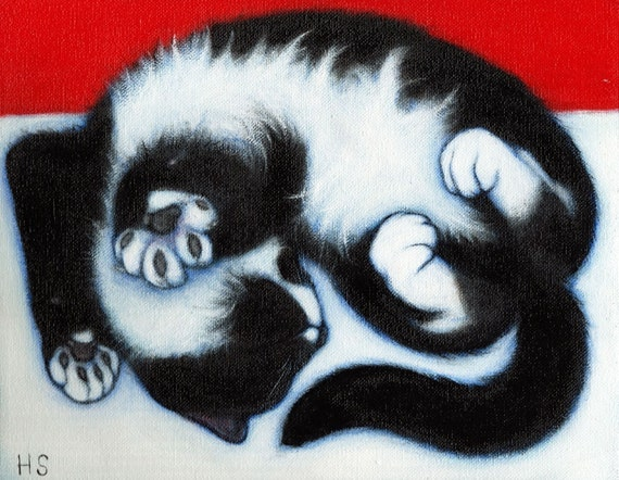 Tuxedo Cat art print . Paws.