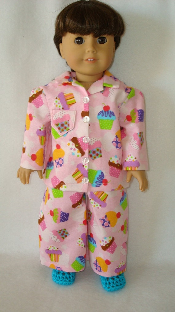 """American Girl doll clothes/Crazy for Cupcakes/ flannel pajamas and slippers/READY TO SHIP/4piece set fits 18"""" american girl doll"""