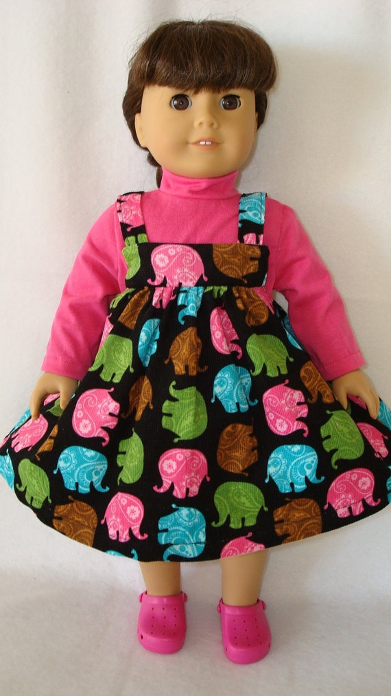 """American Girl doll Clothes/ Jumper and turtleneck shirt/ Elephant Walk/READY TO SHIP/Made to fit 18"""" American Girl Dolls"""