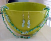 Blue Green Aqua Glass Seed Bead and Chip Earring and Necklace Set 128