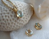 """Aquamarine Necklace and Earring Set Oval 8x6mm MARCH BIRTHSTONE Gold Cable Chain 18"""""""