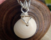 Natural Hawaiian Seashell Pendant Smooth Round Silver Tone Handwrapped 131P Maili Beach Oahu Hawaii