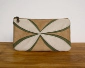 Eco-Friendly Vegan Suede Flower Clutch in Camel and Moss