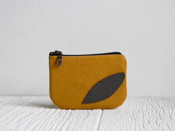 Ipod Case, Eco Friendly Bag, Vegan Suede Feather, Coin Purse, Yellow & Gray