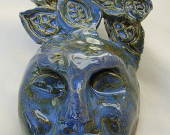 Stoneware Mask in Blue