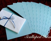 Garden mint scented stationery, with complimentary monogramming, Scalloped Hearts design