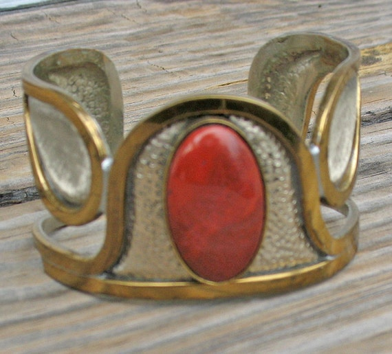 Vintage Bronze and Jasper Bracelet by Morita Gil South American Jeweler