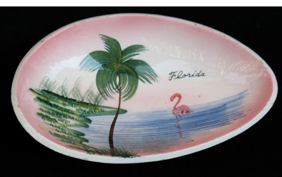 Vintage bowl from Florida with Palm Trees and Flamingo