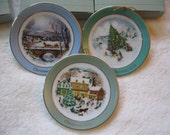 CIJ SALE Vintage Avon Miniature Christmas Plate Collection.  Country Christmas 1980. Trimming the Tree 1978
