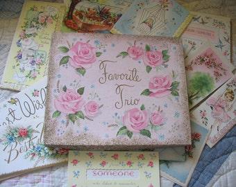 Vintage 29 Card and Envelope Assoretment,  Vintage Deluxe Favorite, Unused, Paper Ephemera, Flowers 3D, Scrapbook Crafting Recycle